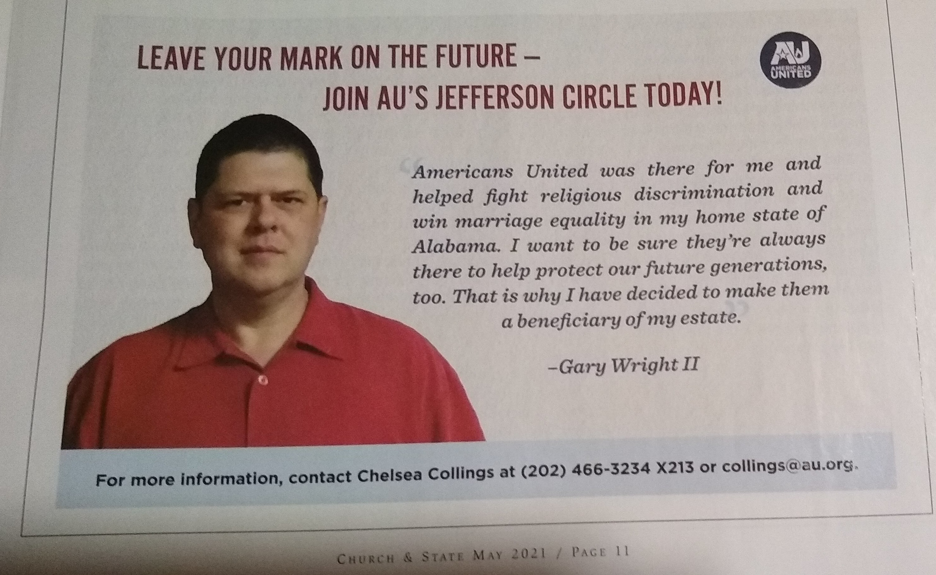 Gary Wright II in May 2021 Church & State Magazine for Americans United for Separation of Church and State