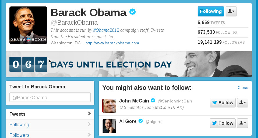 Following Obama and Twitter suggests following McCain?!?