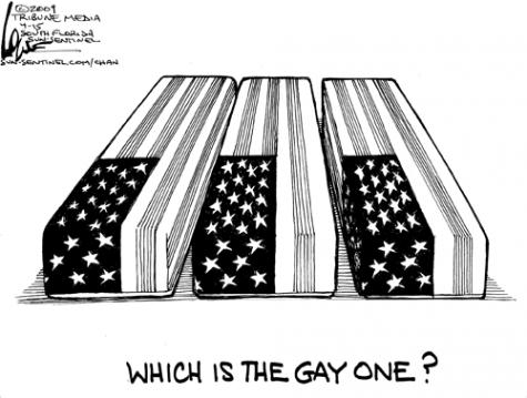 Which one is gay? by Chan Lowe, an editorial cartoonist with the Sun-Sentinel in Southern Florida
