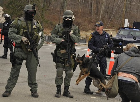 Riot police with attack dogs at the Bradley Manning support rally held at Quantico on 3/20/2011