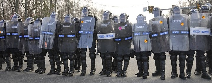 Riot police line up at the Bradley Manning support rally held at Quantico on 3/20/2011