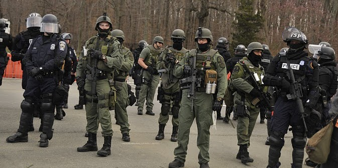 Riot police with weapons at the Bradley Manning support rally held at Quantico on 3/20/2011