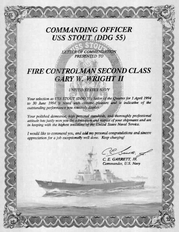 Gary Wright II receives Letter of Commendation for Sailor of the Quarter