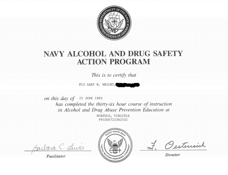 Gary Wright II completes Drug and Alcohol Abuse Prevention course